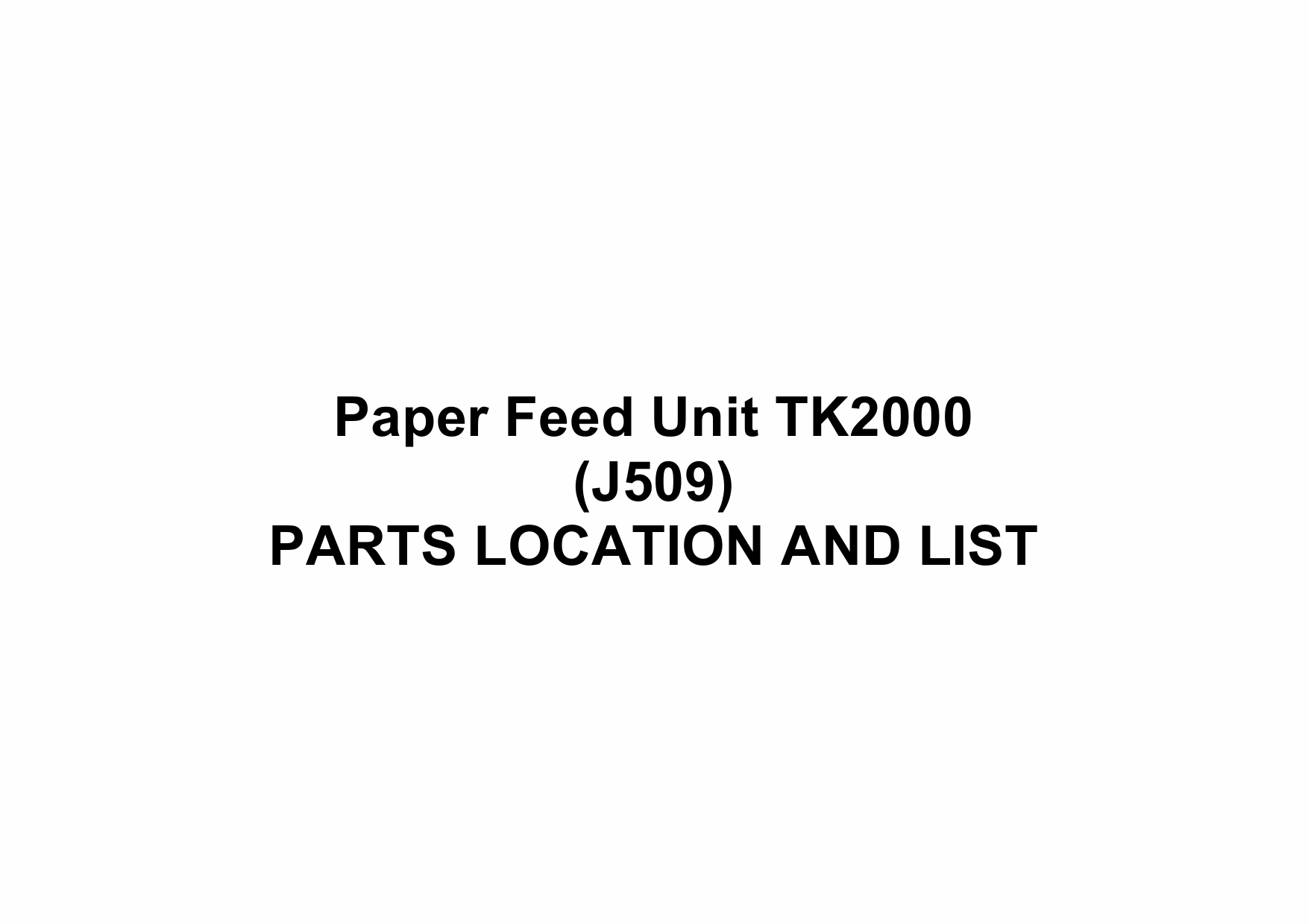 RICOH Options J509 Paper-Feed-Unit-TK2000 Parts Catalog PDF download-1